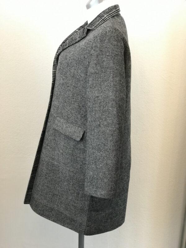 Mantel Set grau weiss kariert Grösse XL
