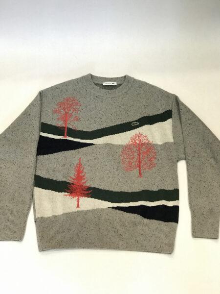 Pullover Lacoste grau grün rot gemustert Grösse S